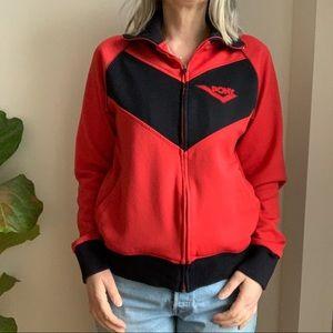Vtg Pony Athletic Jacket Red Black Zip Up M